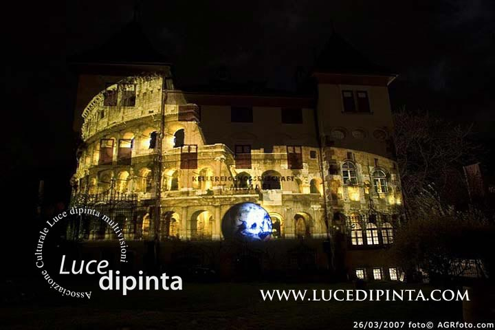 Rome Colloseum projected on to the 100 year old building