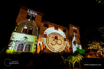 Sanct Valentin 30 years projected on to the winery building