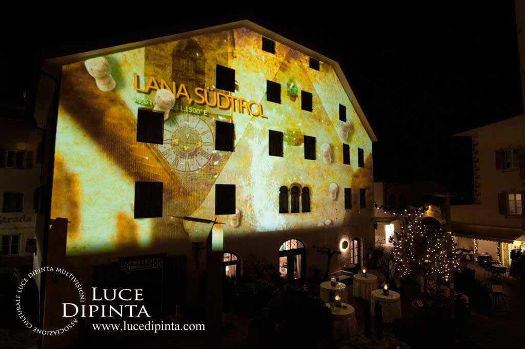New Year's Eve architectural projection in Griesplatz, Lana, Italy