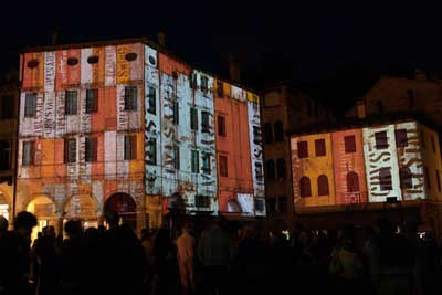 Building projections in Piazza Garibaldi, Asolo