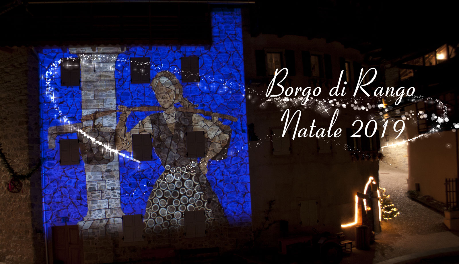 Video mapping in the piazza of Borgo di Rango, Italy