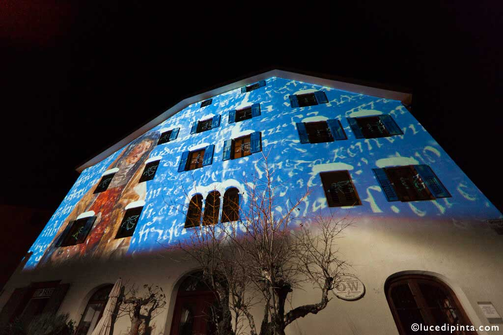 Christmas architectural projection in Griesplatz, Lana, Italy 2013