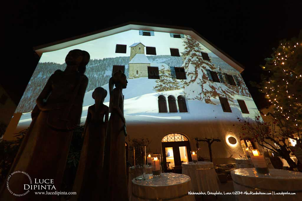 Christmas architectural projection in Griesplatz, Lana, Italy 2014